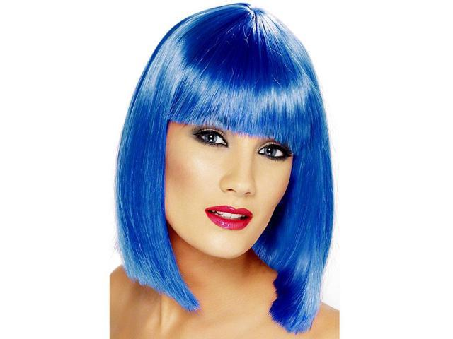 Glam Blue Short Blunt With Fringe Adult Costume Wig One Size