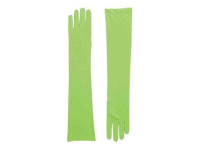 Long Light Green Adult Female Costume Nylon Dress Gloves One Size