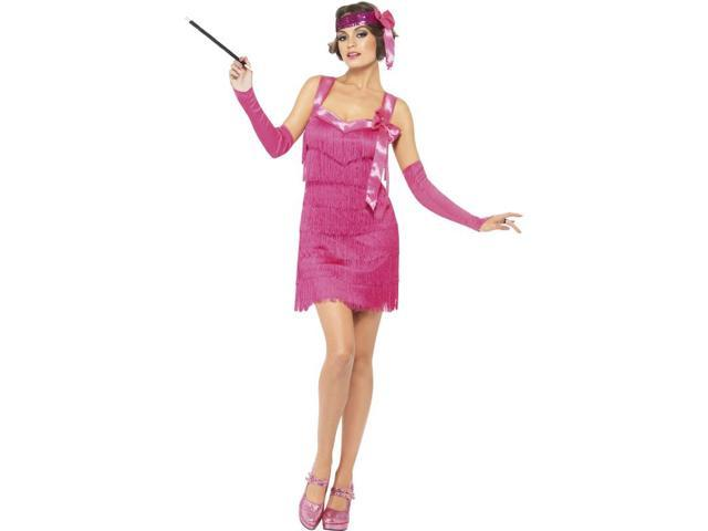Sexy Flapper Hotty Costume Dress Adult: Pink Large