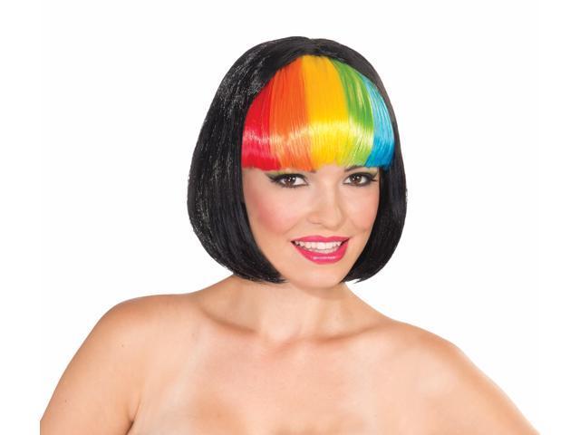 Black Bob Rainbow Bangs Costume Wig Adult One Size