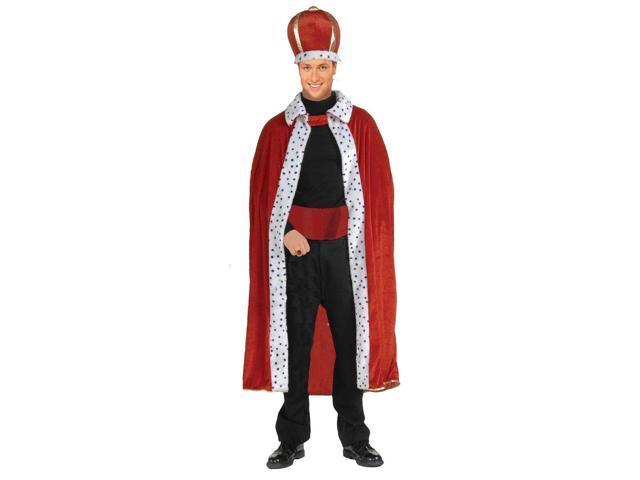 King Red Robe & Crown Costume Set Adult Standard