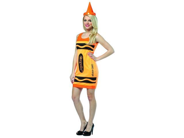 Crayola Neon Orange Tank Mini Dress Costume Adult One Size Fits Most