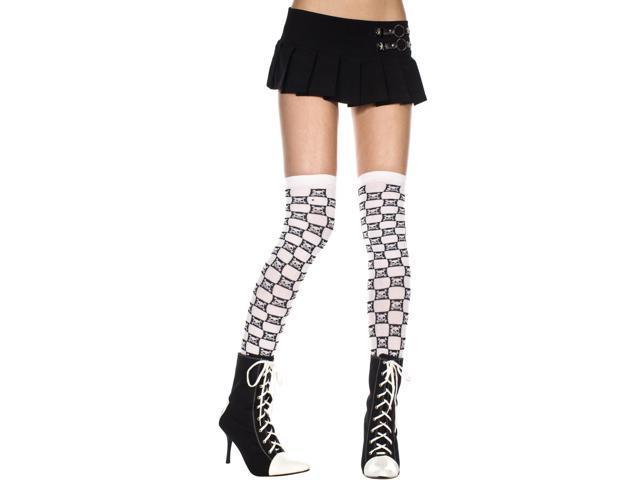 Acrylic Checkered Thigh Hi Nylon Crossbone Costume Hosiery One Size