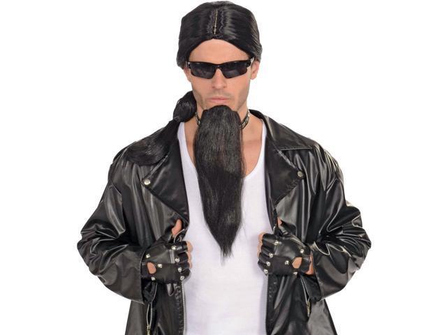 Biker Long Black Goatee Costume Accessory One Size