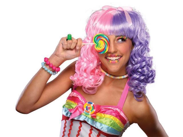 Lollipop Costume Wig Adult: Pink & Purple One Size