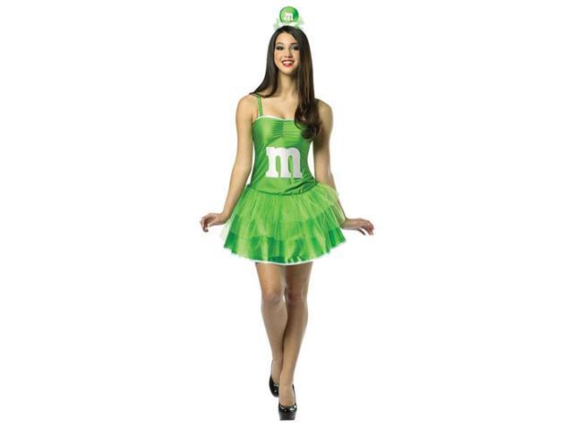 M&M's Party Dress Costume Adult: Green 4-10