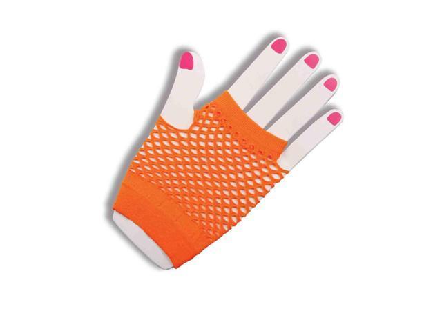 80's Neon Orange Fingerless Fishnet Adult Costume Gloves One Size