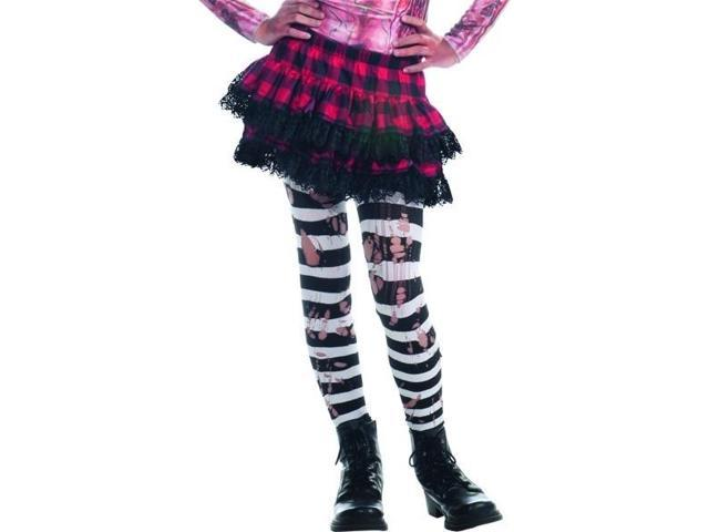 Zombie Ripped Black & White Striped Tights Costume Hosiery Child One Size