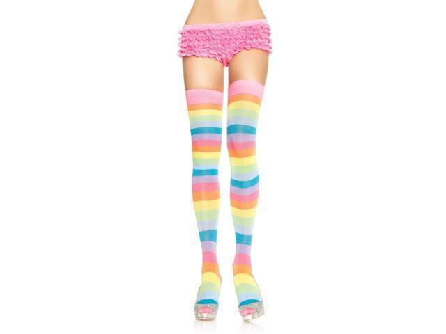 Acrylic Neon Rainbow Costume Thigh Highs Adult Hosiery One Size