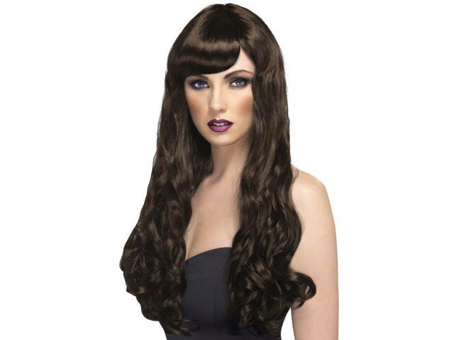 Desire Long Curly Costume Wig Adult Brown One Size