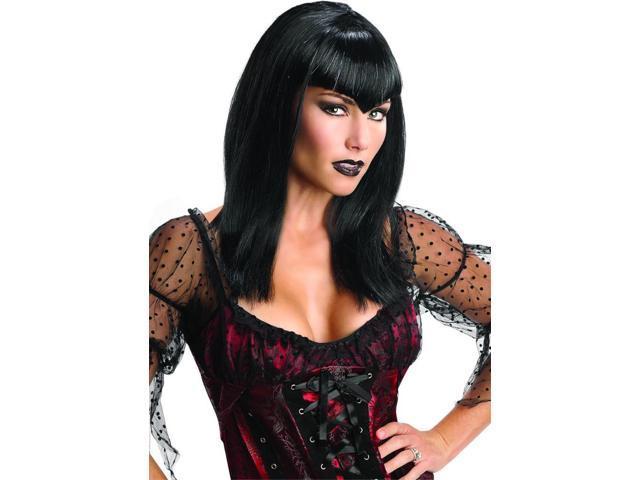 Black Glitter Vamp Costume Wig Adult One Size