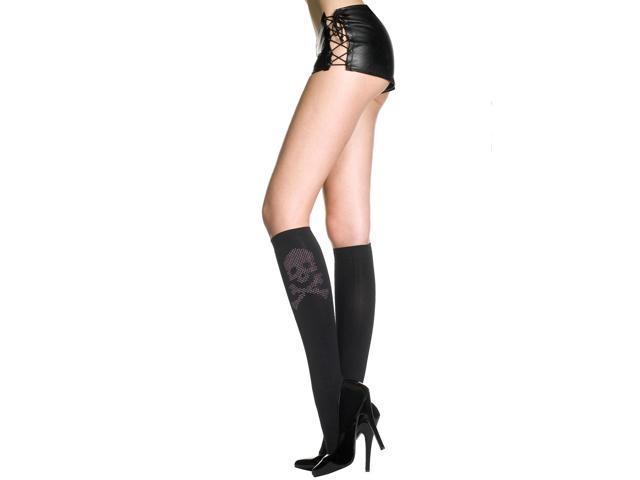 Skull Opaque Knee Hi Nylon Costume Stocking Hosiery One Size