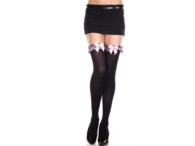 Opaque Thigh Hi Nylon With Ruffle Lace Top Costume Hosiery One Size