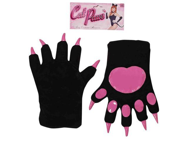 Black And Hot Pink Cat Paws With Claws Adult Costume Gloves One Size