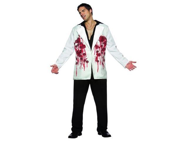 Mens Bloody Bullets Halloween Scary White Jacket Blazer Adult Standard