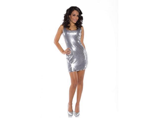 Silver Shimmer Short Sequin Dress Adult Costume Large