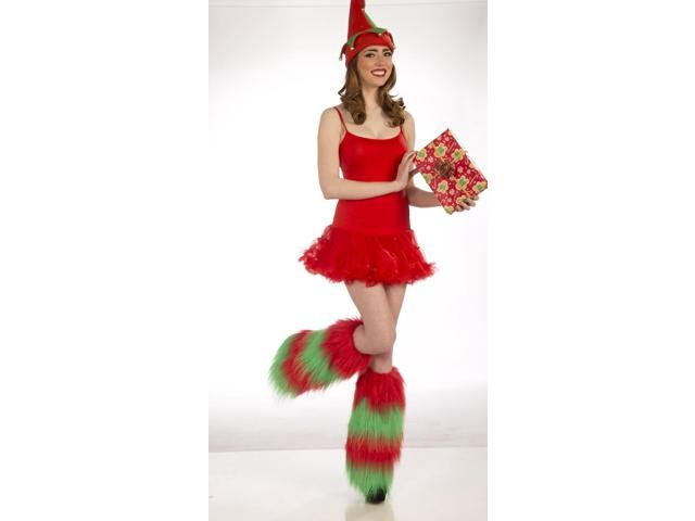 Christmas Furry Costume Leg Warmers: Green & Red One Size Fits Most
