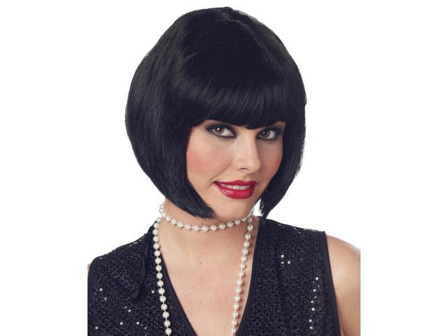 Black Bob Flapper Costume Wig Adult One Size