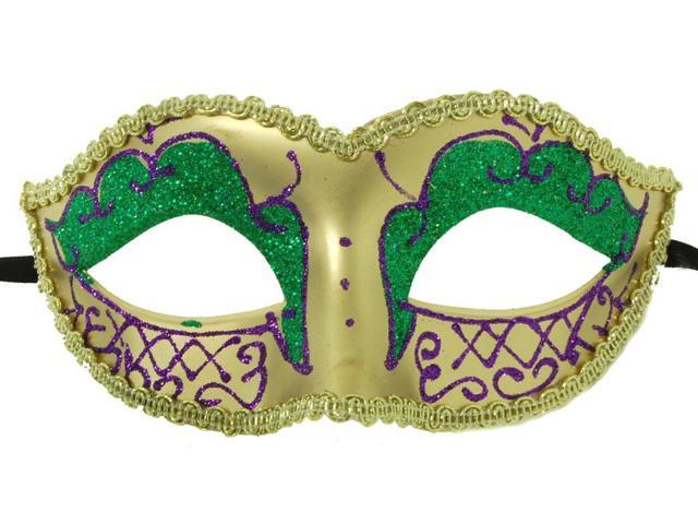 Envy Petite Mardi Gras costume Mask Purple w/Gold One Size