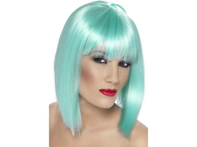Glam Short Blunt With Fringe Neon Aqua Adult Costume Wig One Size