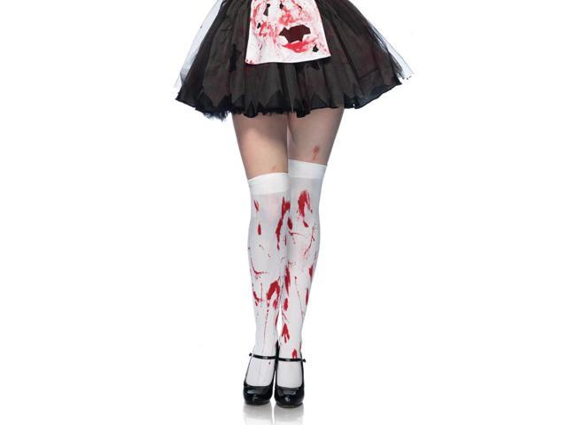 Bloody Zombie Costume Thigh High Adult Hosiery One Size