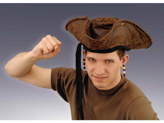 Distressed Beaded Costume Pirate Hat Adult One Size