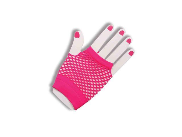 80's Neon Pink Fingerless Fishnet Adult Costume Gloves One Size