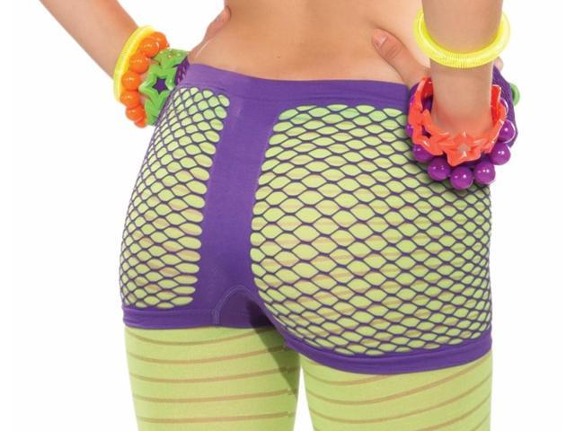Club Candy Neon Fishnet Costume Boy Shorts Adult: Purple One Size