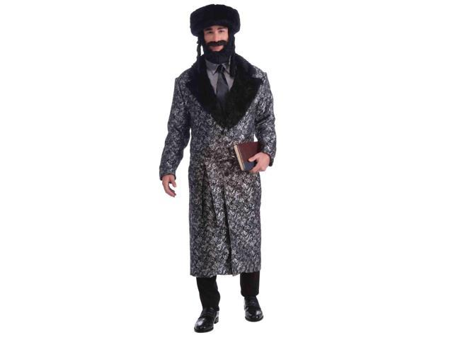 Deluxe Silver And Black Rabbi Costume Robe One Size Fits Most
