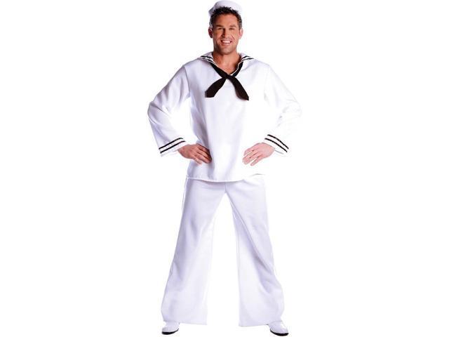 Navy Sailor White Shirt with Bib Collar Costume Adult Standard