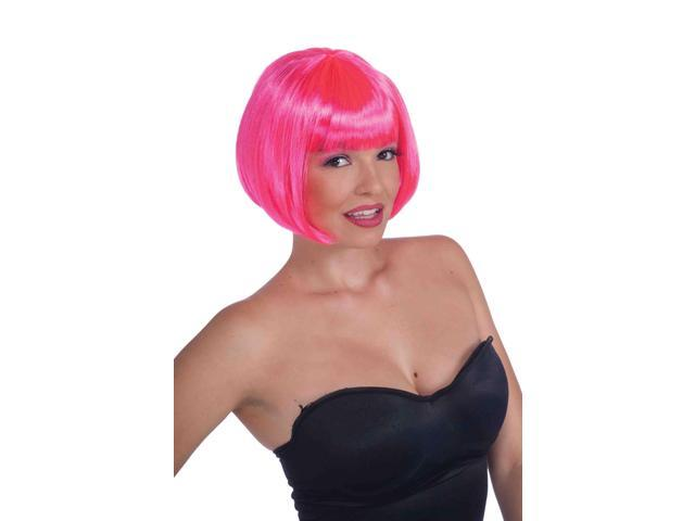 Neon Pink Sassy Bob Adult Costume Wig With Bangs One Size