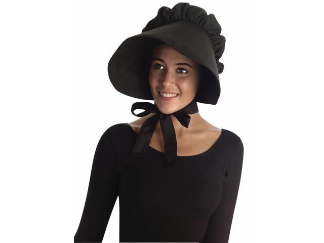 Colonial Style Large Bonnet Costume Hat Adult: Black One Size