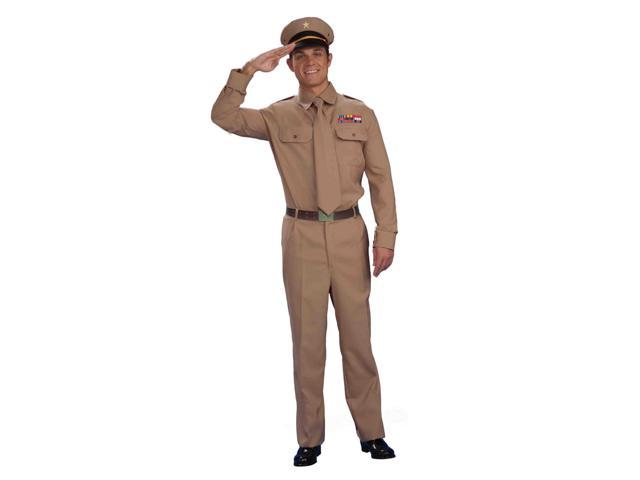 Tan Army General Adult Male Costume Shirt & Tie One Size Fits Most