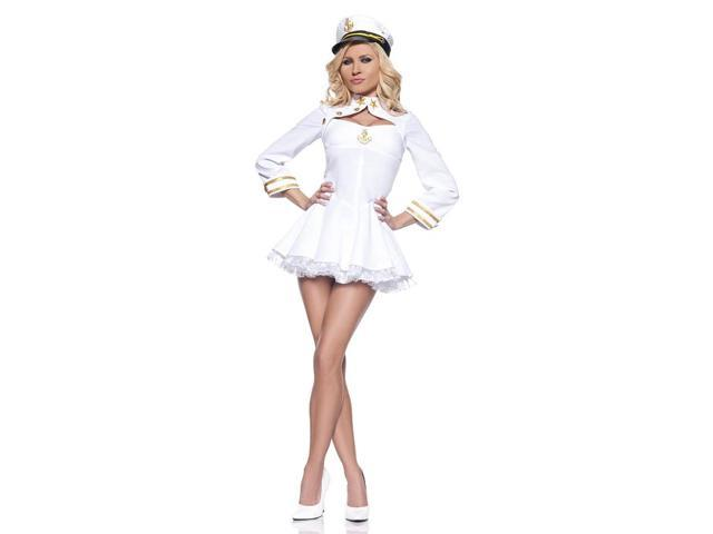 Elegant Admiral Sailor White Mini Dress Costume Adult Medium