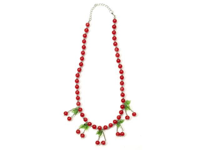 Retro Rock Cherry Costume Necklace Adult One Size