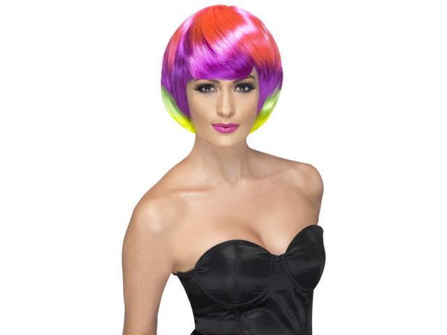 Funky Babe Bob Costume Wig Adult: Rainbow One Size