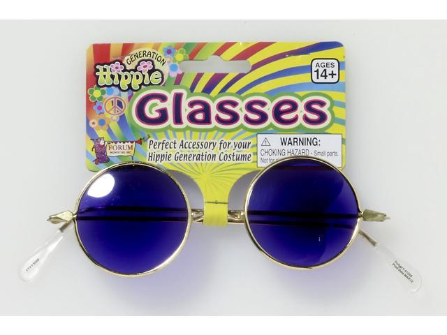 Round Hippie Costume Glasses Adult: Blue Lenses One Size