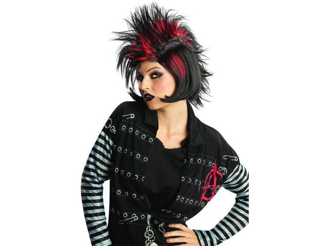 Rock It Mohawk Bob Black & Red Costume Wig Adult One Size