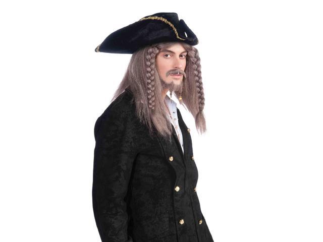 Grey Pirate Costume Wig With Braids One Size