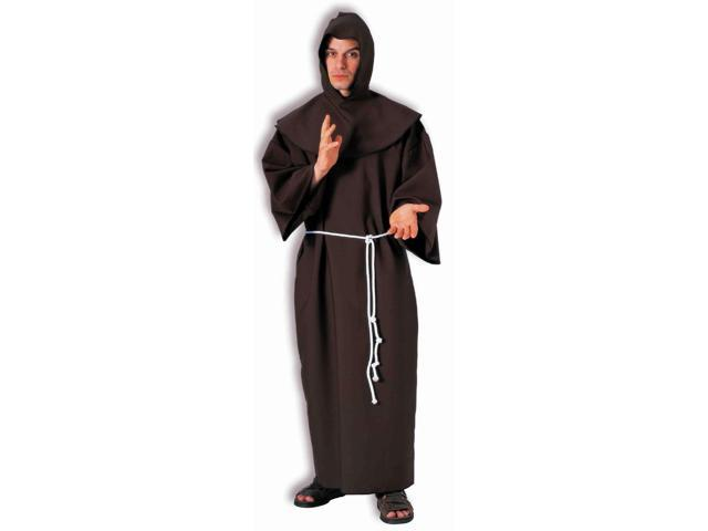 Brown Medieval Adult Monk Costume Robe With Rope Tie One Size Fits Most