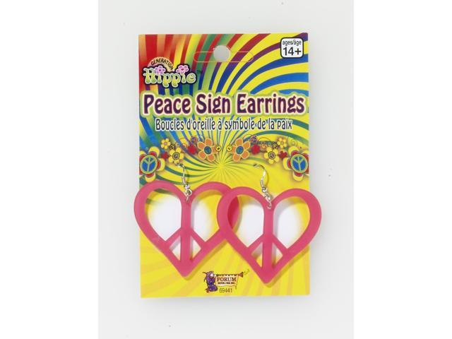 Heart Shaped Pink Peace Costume Earrings One Size