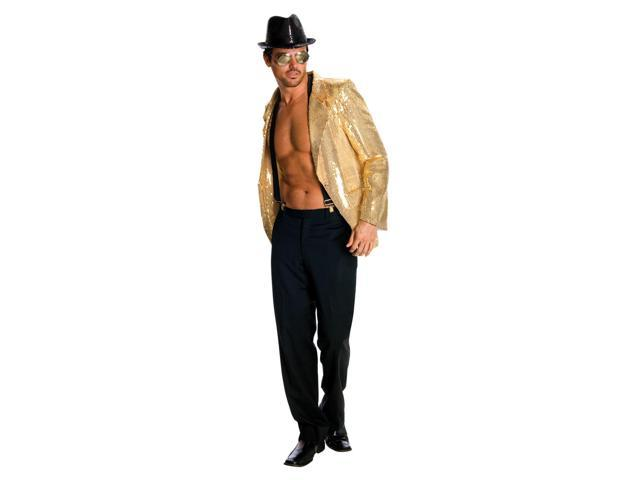 Men's Gold Sequin Costume Jacket Adult X-Large 44-46