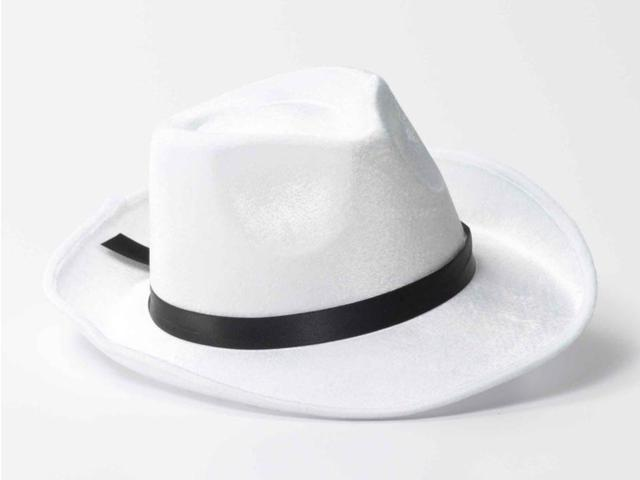 White Gangster Fedora w/Black Band Costume Hat One Size