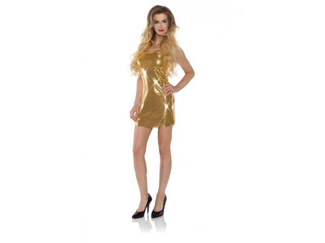 Gold Shimmer Short Sequin Dress Adult Costume Small