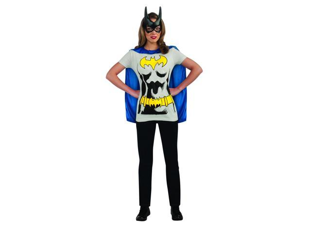 Batgirl Blue Shirt & Mask Costume Set Adult Medium 10-14