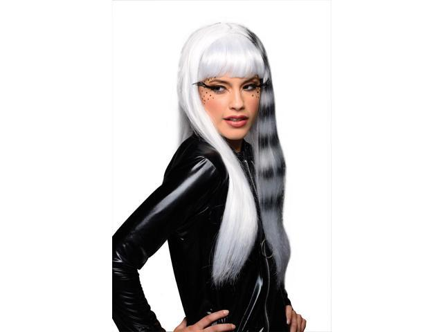 Kitty Cat Costume Wig Adult: Half White & Black White Stripe One Size