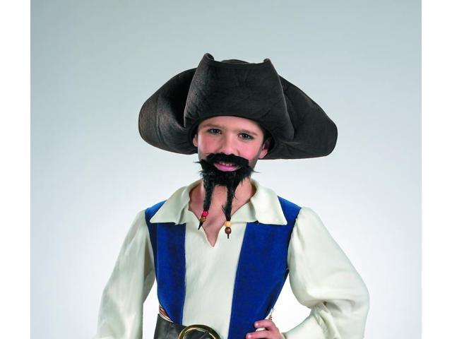 Pirates of the Caribbean Pirate Hat With Moustache & Goatee Child