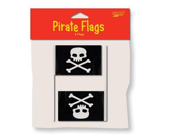 Paper Art Pirate Flags With Plastic Pole 8 Pack
