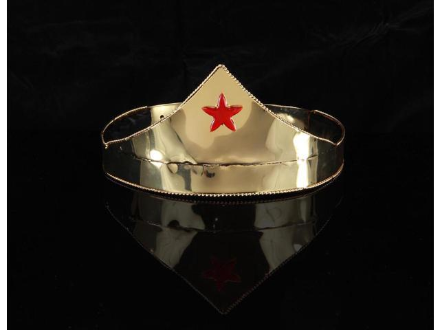 Wonder Gold & Red Star Adjustable Costume Crown Adult One Size