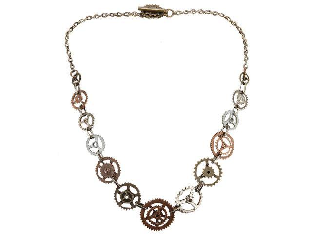 Steampunk Antique Single Chain Gears Costume Necklace Adult One Size
